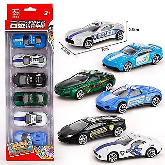 6db Gyermek Mini Rendőrségi Autó Játék mérnöki autó modell Slide Toy Car Ötvözet Oktatási Boy's Toy