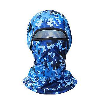 Vancl Summer kamuflážní ledová hedvábná pokrývka hlavy, dámský motocykl jezdící na celolíslích (Camouflage Blue)
