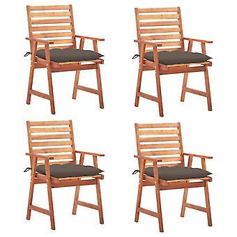 vidaXL jardín sillas de comedor 4 piezas con cojín de madera maciza acacia