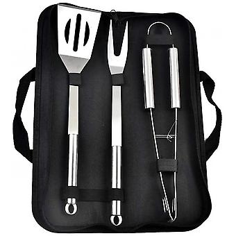 3 Piece Bbq Tool Set Stainless Steel Bbq Tool, Spatula, Tongs, Fork, Professional Grill Set