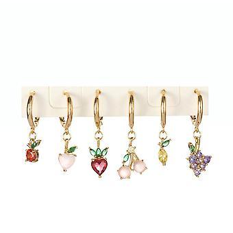 Eardrops Grape Cherry Pineapple Fruit Colored Zirconium Earrings Ear Clips For Daily Use