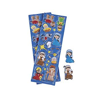 LAST FEW - 12 Sheets of Puffy Nativity Stickers for Kids Crafts