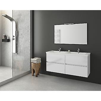 Set Mobili Luxus , Colore Bianco in MDF, Ceramica, Truciolare Melaminico, Vetro, Alluminio, ABS, Unita' Base con Lavabo: L120xP40xA50 cm