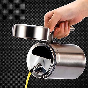 1000ML Kitchen Oil Bottle Stainless Steel Leak Proof Oil Storage Bottle Dispenser Gravy Boats