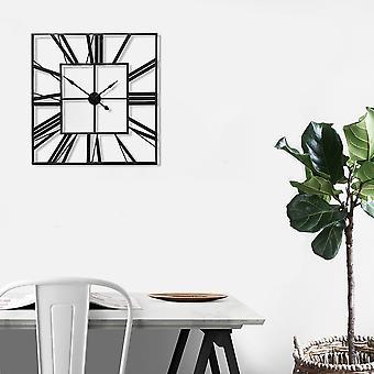 Horloge murale en métal carré noir