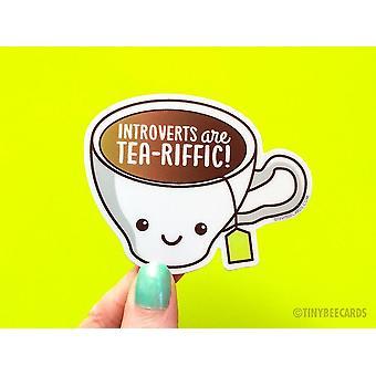 Introverts Are Tea-riffic - Introvert Vinyl Sticker