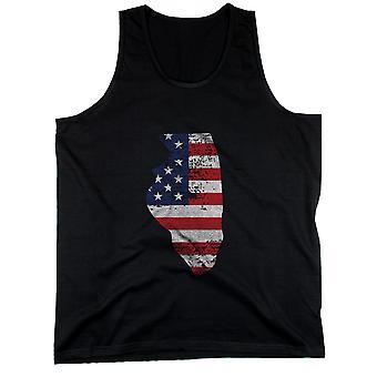 IL staten USA flagga mäns linne Illinois amerikanska flaggan tankar