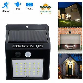Landscape pathway lighting solar power pir motion sensor 30 led wall lamp garden security light
