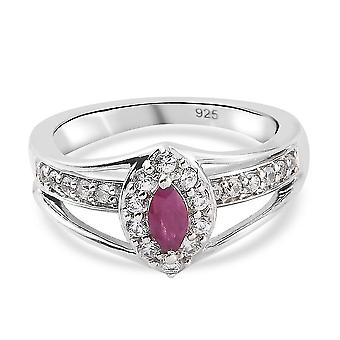 TJC Ruby Halo Ring Platinum Plated Silver Anniversary Gift White Zircon 0.92ct(T)