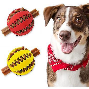 """נשף צעצוע כלב חטיפים, ניקוי שיניים אינטראקטיבי, 7.5 *7.5 ס""""מ (צהוב + אדום)"""