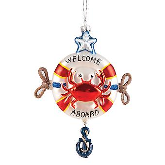 Rode krab in een life saver welkom aan boord van Christmas Holiday Ornament 6 inch