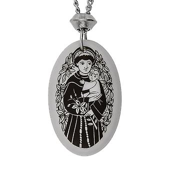 A mano Saint Anthony ovale a forma di porcellana pendente ~ 18 + 4 pollici extender catena