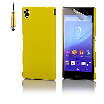 Hårt skal case + penna för Sony Xperia M4 Aqua - gul