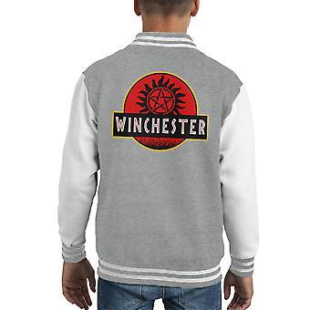 Supernatural Jurassic Park Winchester Kid's Varsity Jacket