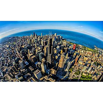 Aerial view of Chicago skyline at waterfront Chicago Cook County Illinois USA Poster Print by Panoramic Images (40 x 24)