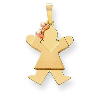 14k Two Tone Solid Satin Polished Engravable Gold Small Girl with Bow on Left Engraveable Charm Pendant Necklace Jewelry