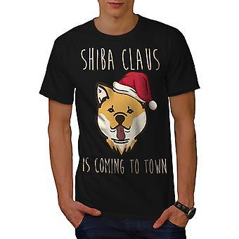 Shiba Inu Santa miesten BlackT-paita | Wellcoda