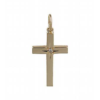 9ct oro estrella de diamante 20x13mm conjunto Cruz