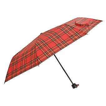 Womens/dames Wind resistente Tartan Check compacte nauwe paraplu