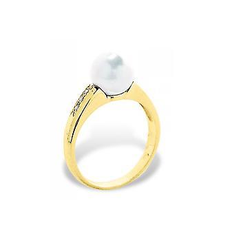 Valkoinen kulttuuri Pearl naaras rengas, timantteja 0,06 CTS ja keltainen kulta 375/1000