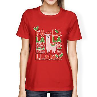 Falala Llama Womens Red Round Neck Tee Holiday X-Mas Gift Tee