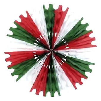 Dekoration-Gewebe Fan rot - weiß und grün Waben hängen Fan 64cm