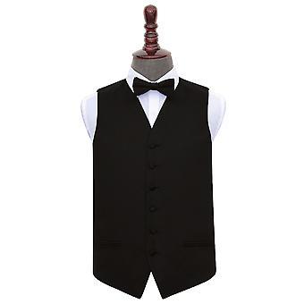 Gilet di raso nero liscio & Bow Tie Set