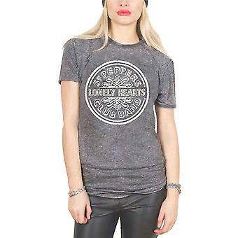 The Beatles T Shirt Sgt Pepper Drum Official Womens Skinny Fit Acid Wash Grey