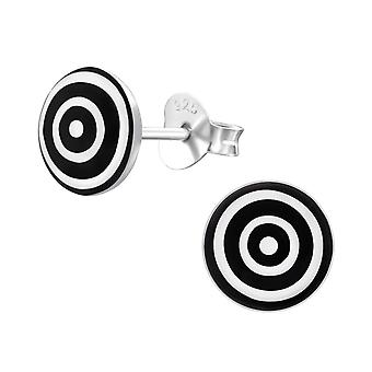 Round - 925 Sterling Silver Colourful Ear Studs - W19704X