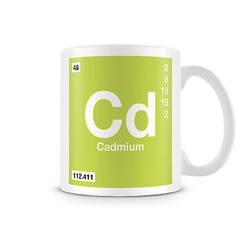 Scientific Printed Mug Featuring Element Symbol 048 Cd - Cadmium