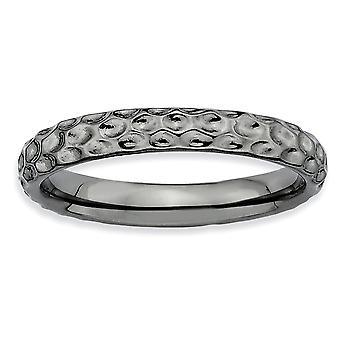 925 Sterling Sølv Polert Mønstret Ruthenium plating stables uttrykk Svart belagt Ring Smykker Gaver til kvinner