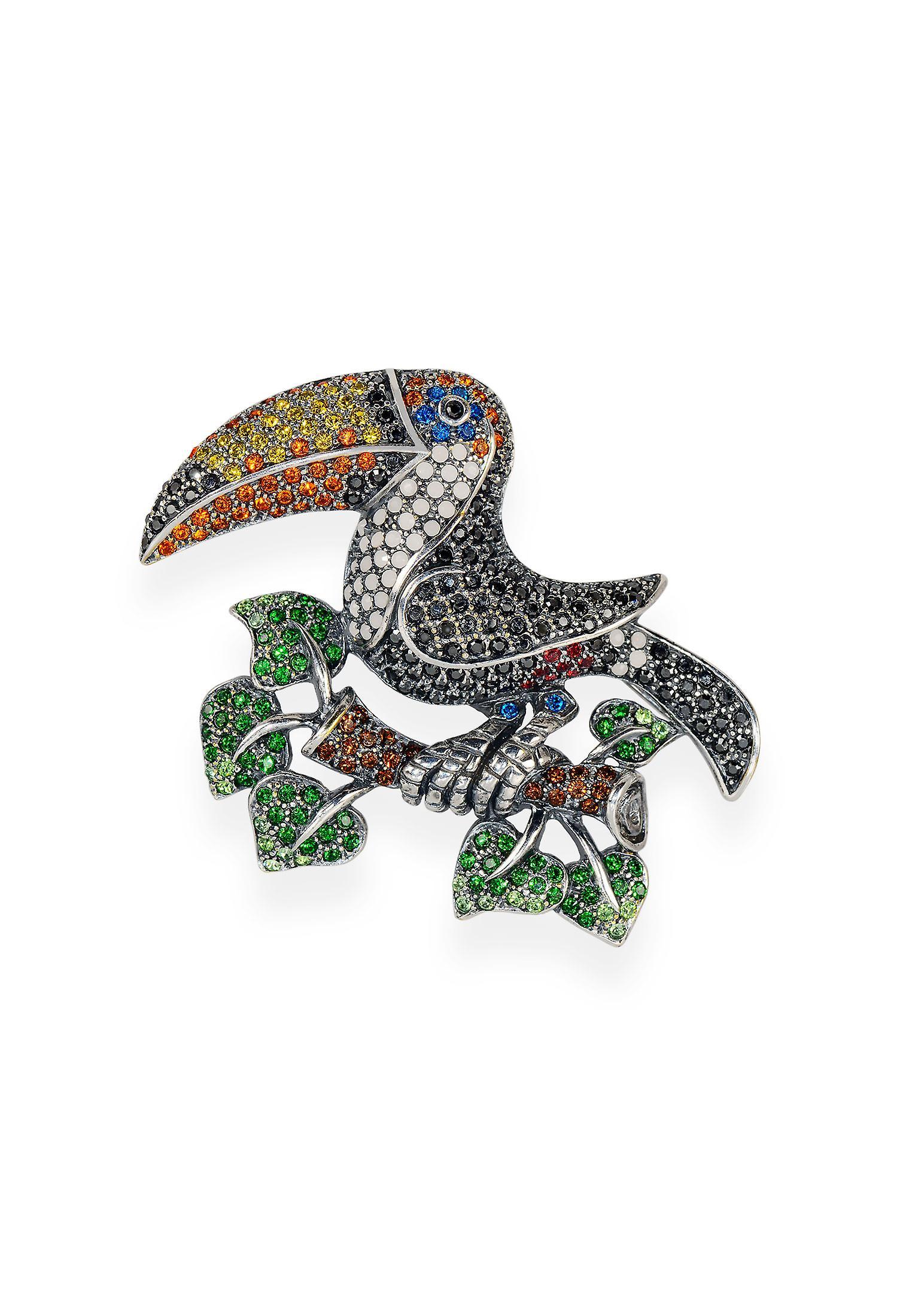 Multicolor brooch with crystals from Swarovski 7110