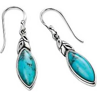 Elemente Silber Türkis Detail Haken Ohrringe - Silber/Blau