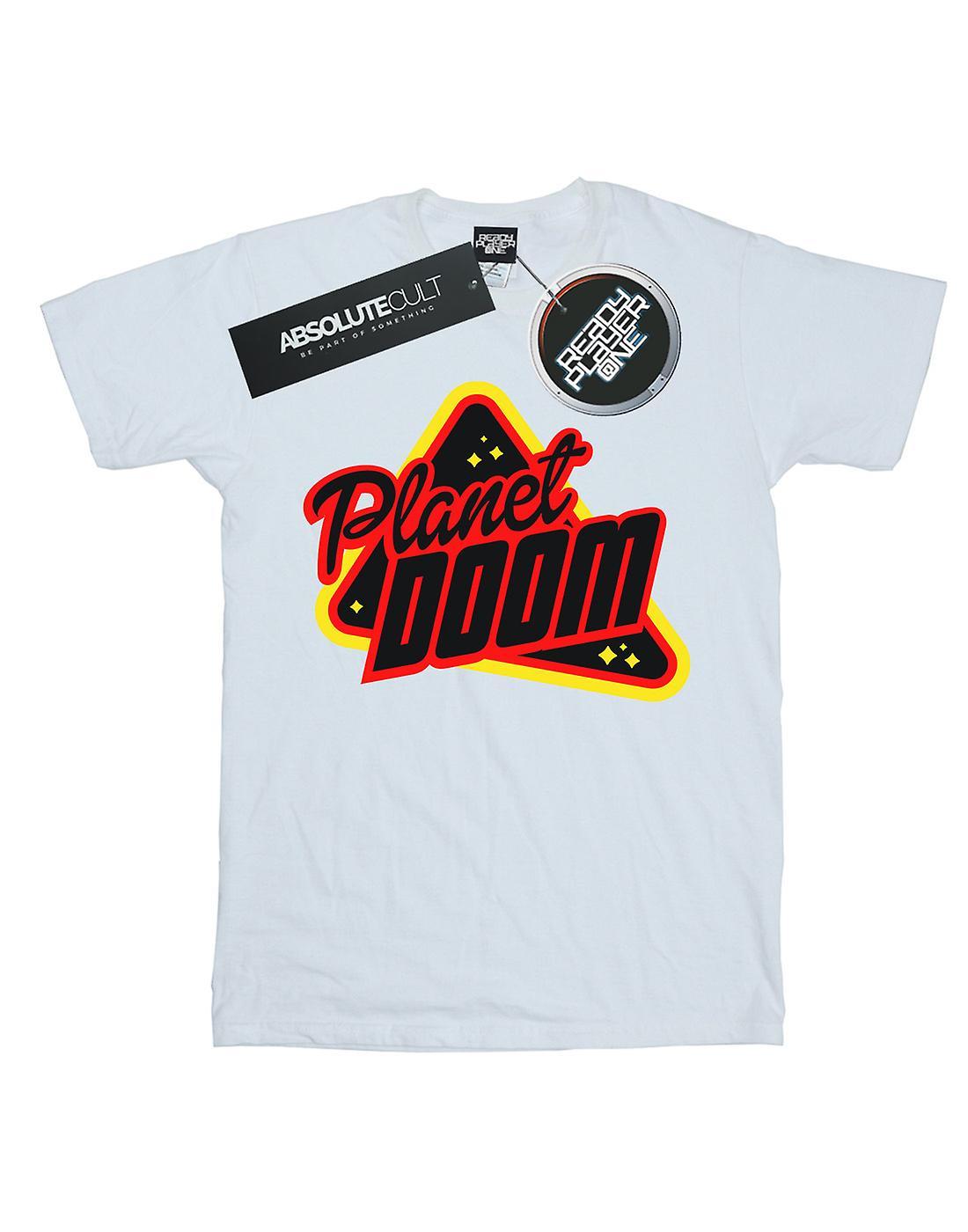 Ready Player One Women's Planet Doom Logo Boyfriend Fit T-Shirt