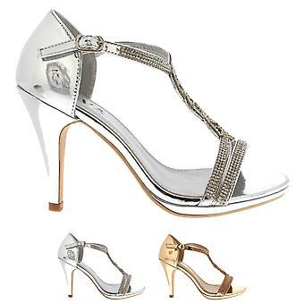 Womens Diamante T-Bar  Mid Heel  Wedding Party Metallic Sandals Shoes UK 3-8