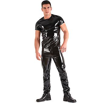 Honour Men's T-Shirt Black Rubber PVC Top Shortsleeves &round neck