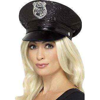 Fever Sequin Police Hat, Black