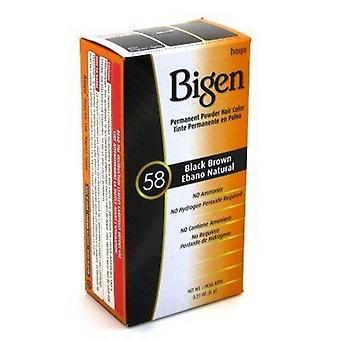 Bigen Permanent pulver hårfarge Black Brown (58)