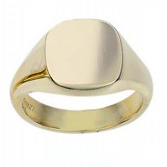 9ct Gold 14x13mm solid plain cushion Signet Ring Size W
