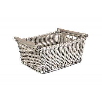 Ekstra stor grå vask tre håndteres oppbevaring kurv