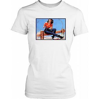 Vintage Retro kansikuvatyttö Lasso naisten T-paita