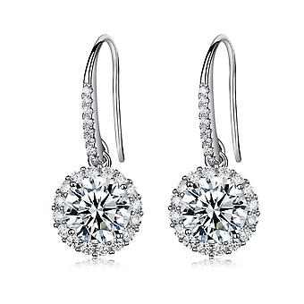 925 Sterling Silver Pave Aaaaa Cz Round Halo Earrings