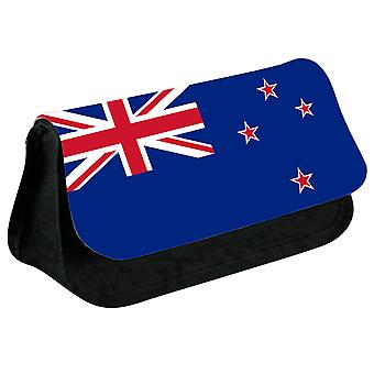 New Zealand Flag Printed Design Pencil Case for Stationary/Cosmetic - 0125 (Black) by i-Tronixs