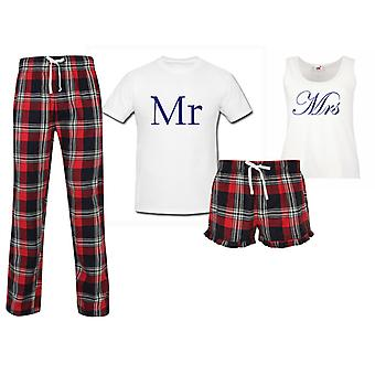 Mr and Mrs Wedding Couples Matching Pyjama Tartan Set