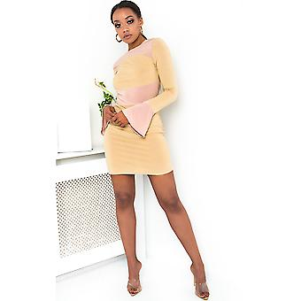 IKRUSH Womens Mila Ribbed Bell Sleeve Bodycon Dress