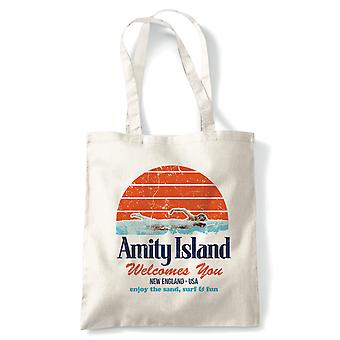 Amity Island, Funny Tote - Jaws Quints Retro Movie Reusable Shopping Canvas Bag