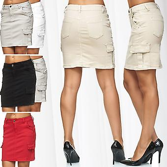 Women's denim skirt Midi Cargo Jeans Skirt with side pockets cotton stretch mix