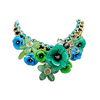 Crystal flower pendant necklace statement chunky collar gift