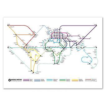 Kunst-poster 70 x 100 cm-wereld metro kaart-Olivier Bourdereau