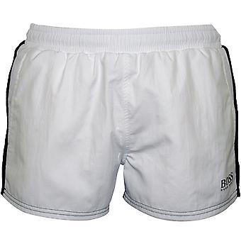 BOSS Goldeye Athletic-cut Swim Shorts, White/black